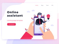 Landing page template customer and operator, online technical support 24-7 for web page. Vector illustration male hotline operator advises client. Online assistant, virtual help service smartphone.