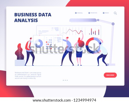 Landing page template. Digital Marketing analyst, marketing business website vector design with cartoon people