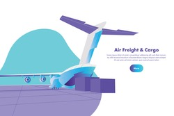 Landing page template for air freight&cargo concept with an aircraft.