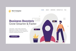 Landing Page Template for Business Boosters Company. Boost your business flat illustration vector concept. Flat design style.