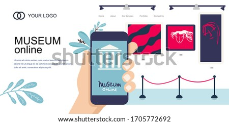 Landing Page Template. Interactive museum exhibition. smartphone. Virtual Museum online Art Gallery Tours in Smartphone. Online Tours. Vector flat concept. phone in hand