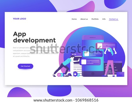 Landing page template of App Development. Modern flat design concept of web page design for website and mobile website. Easy to edit and customize. Vector illustration