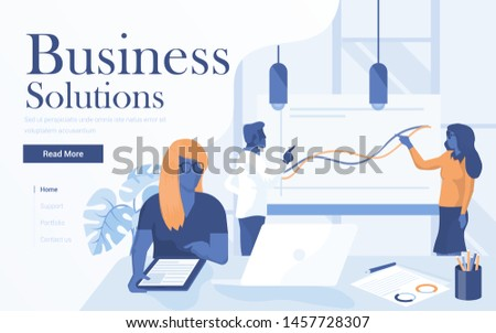 Landing page template of Business Solutions. Team of young people working together in modern workspace. Modern flat design concept of web page design for website and mobile website. Vector