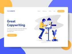 Landing page template of Copywriter Concept. Modern flat design concept of web page design for website and mobile website.Vector illustration
