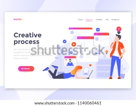 Landing page template of Creative process. Modern flat design concept of web page design for website and mobile website. Easy to edit and customize. Vector illustration