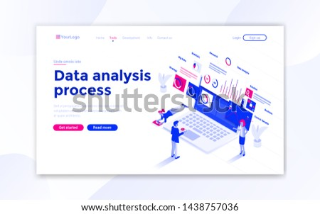 Landing page template of Data Analysis process. Modern isometric design concept of web page design for website and mobile website. Easy to edit and customize. Vector illustration