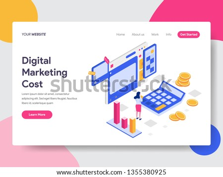 Landing page template of Digital Marketing Cost Isometric Illustration Concept. Isometric flat design concept of web page design for website and mobile website.Vector illustration