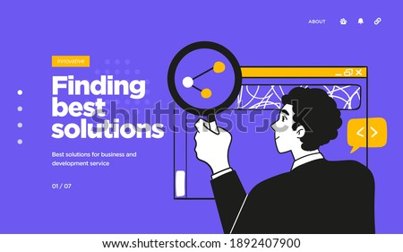 Landing page template of Digital Solutions Business Analytics and Planning. Modern Flat style. Vector illustration.