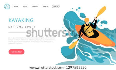 Landing page template of extreme sport kayaking. The Flat design concept of web page design for a kayaking website.