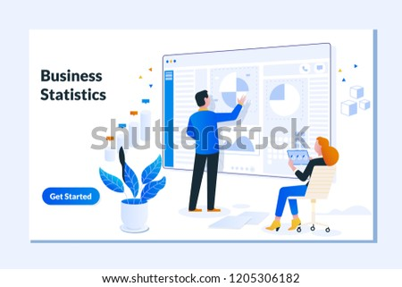 Landing page template of Financial administration, examiner, audit.Balance financial value, management and administration