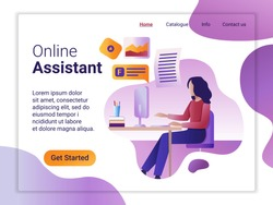 Landing page template of Online Assistant. The Flat design concept of web page design for a mobile website. The young woman works remotely at a computer. Vector illustration.