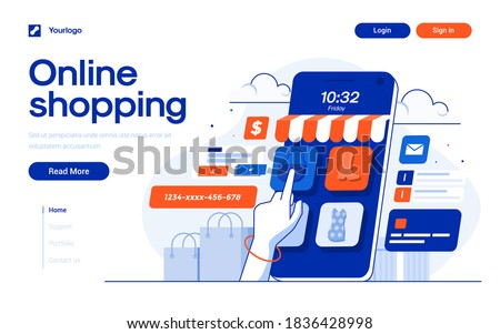 Landing page template of Online Shopping. Online shopping store with mobile , credit cards and shop elements. Modern flat design concept of web page design for website and mobile website. Easy to edit