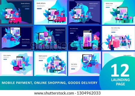 Landing page template of Online Shopping people and mobile payments. Vector illustration pos terminal confirms the payment using a smartphone, Mobile payment, online banking.