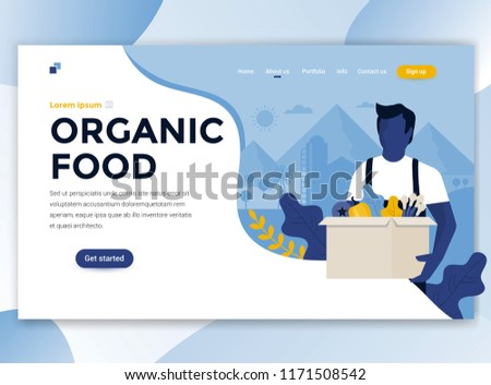 Landing page template of Organic food. Modern flat design concept of web page design for website and mobile website. Easy to edit and customize. Vector illustration