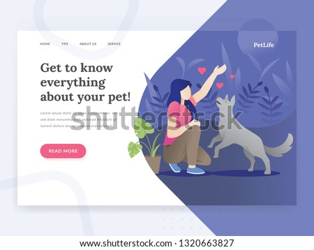 Landing page template of Pet life. Modern flat design concept of web page design for Pet stores, pet consults website. Illustration of a woman playing with a dog. Young woman with her dog. Pet vector