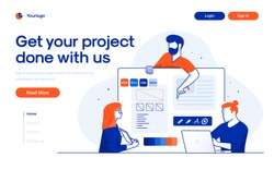 Landing page template of Project Development. Team of young people working together in modern workspace. Modern flat design concept of web page design for website and mobile website. Vector