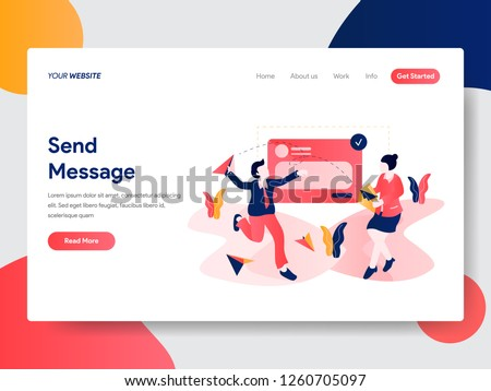 Landing page template of Send Message Concept. Modern flat design concept of web page design for website and mobile website.Vector illustration