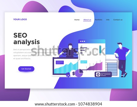 Landing page template of Seo analysis. Modern flat design concept of web page design for website and mobile website. Easy to edit and customize. Vector illustration