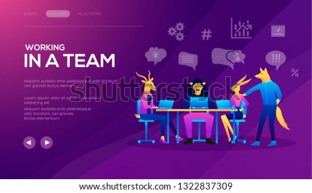 Landing page template of Seo Analytics team. Project management and financial report strategy. Collaboration concept with collaborative people. Business analysis planning vector
