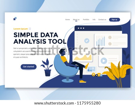 Landing page template of Simple Data analysis tool. Modern flat design concept of web page design for website and mobile website. Easy to edit and customize. Vector illustration