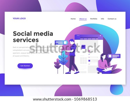 Landing page template of Social media services. Modern flat design concept of web page design for website and mobile website. Easy to edit and customize. Vector illustration