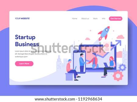 Landing page template of Startup Business Concept. Modern flat design concept of web page design for website and mobile website.Vector illustration