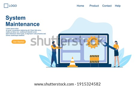 Landing page template of System Maintenance Illustration Concept. Modern Flat design concept of web  Photo stock ©