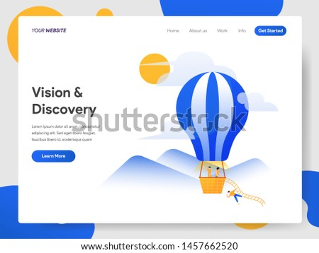 Landing page template of Vision and Discovery with Hot Air Balloon Illustration Concept. Modern design concept of web page design for website and mobile website.Vector illustration EPS 10