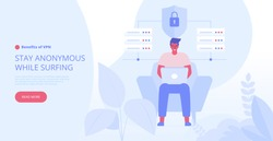 Landing page template of VPN security software for computers and smartphones. VPN protection. Online secure connection. Computer virtual private network. Web security scheme. Flat vector illustration