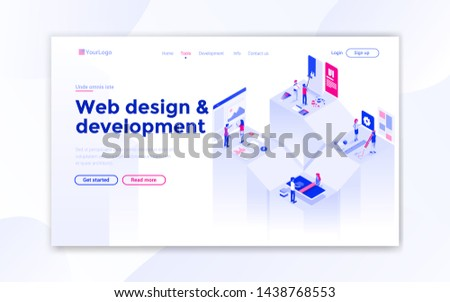 Landing page template of Web Design. Modern isometric design concept of web page design for website and mobile website. Easy to edit and customize. Vector illustration