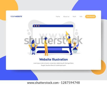 Landing page template of Website on Desktop Illustration Concept. Modern flat design concept of web page design for website and mobile website.Vector illustration