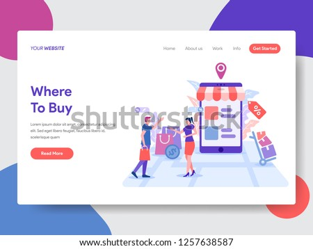 Landing page template of Where to Buy Concept. Modern flat design concept of web page design for website and mobile website.Vector illustration