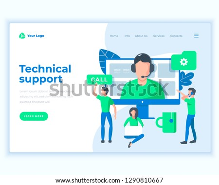 Landing page template technical support concept with office people. Modern flat design web page design for website and mobile website. Vector illustration #1290810667