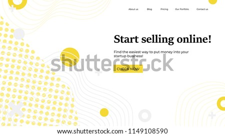Landing page template. Vector illustration concept with abstract shapes, text for website design and development, app, responsive, programming, seo, maintenance, banner. Online selling home page.