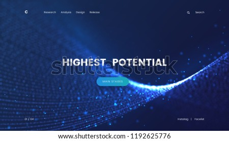 Landing page template with a fantastic blue particles scifi background, can be used for electronics startup, internet technology and futuristic cyberspace theme web sites. Header for website. Vector