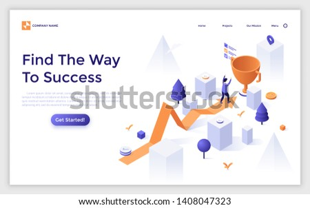 Landing page template with arrow chart and man finishing and celebrating victory beside giant golden champion cup. Way to success, winner in business competition. Modern isometric vector illustration.
