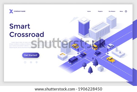 Landing page template with automobiles on city streets. Concept of smart crossroad, intelligent traffic monitoring, control and management technology. Modern isometric vector illustration for website.