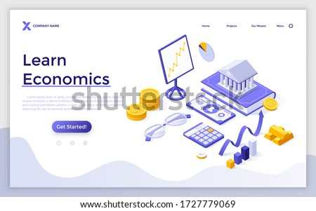 Landing page template with bank building on book, calculator, glasses, ascending charts. Concept of learning economics, financial or banking systems. Modern isometric vector illustration for website.