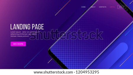 Landing page template with blank smartphone for website or apps. Vector illustration - Shutterstock ID 1204953295