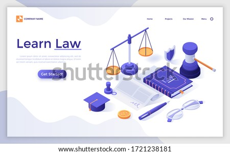 Landing page template with book, scale, document, gavel, graduation cap. Concept of learning law, studying jurisprudence, legal protection course. Modern isometric vector illustration for website.