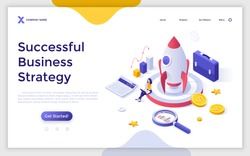 Landing page template with businesswoman working on laptop computer, spacecraft, calculator, briefcase. Concept of successful business strategy, startup project launch. Isometric vector illustration.