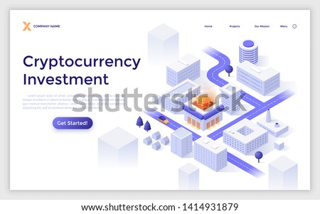 Landing page template with city downtown map, modern buildings, streets and bitcoin. Cryptocurrency investment. Modern isometric vector illustration for financial online service advertisement.