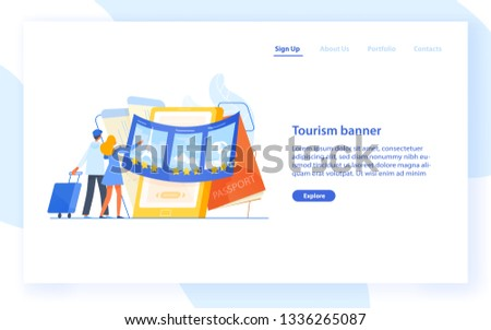 Landing page template with couple standing in front of giant smartphone and choosing trip or journey destination for their vacation. Travel agency or touristic service. Flat vector illustration.