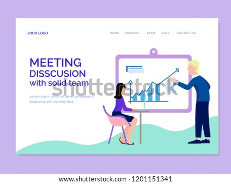 landing page template with disscusion team - Shutterstock ID 1201151341