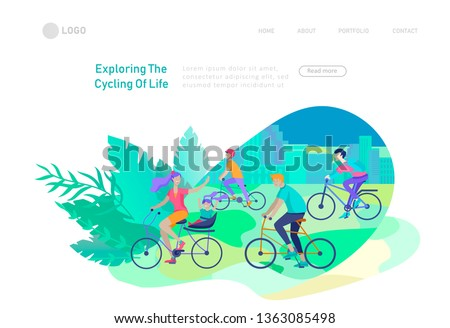 Landing page template with family riding bicycles, woman waving his hand, mother riding bicycles with child. People cycling outdoor activities concept at park, healty life style. Cartoon illustration