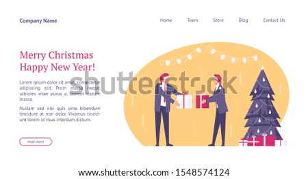 Landing page template with flat concept office christmas celebration, happy businessmen in santa hats, team celebrates new year, website homepage, corporate party, vector illustration