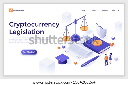 Landing page template with giant paper agreement, bitcoins, scales of justice and tiny people. Cryptocurrency legislation, legal protection of blockchain technology. Isometric vector illustration.