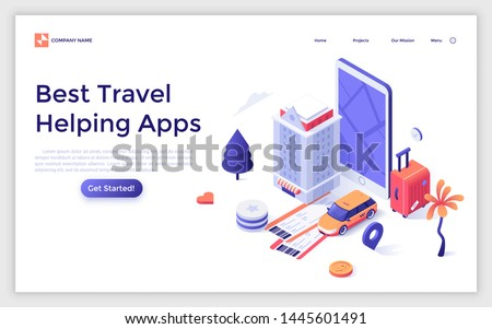 Landing page template with giant smartphone and hotel building, taxi, suitcase, tickets. Help for tourists or travellers. Modern isometric vector illustration for mobile application advertisement.
