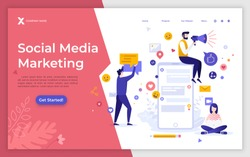 Landing page template with giant smartphone and people working beside. Social media marketing or SMM, digital market research. Modern flat vector illustration for online service promotion.