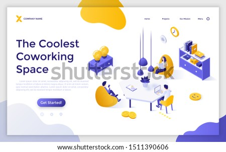 Landing page template with group of freelance workers sitting in comfy armchairs around desk and working. Comfortable coworking space or shared office. Isometric vector illustration for advertisement.